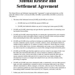 Mutual Release and Settlement Agreement - Small Claims - Ontario