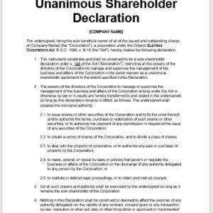 Unanimous Shareholder Declaration - Ontario